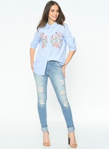 Çiçek Desenli Çizgili Gömlek-Only